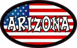 Oval American Flag Arizona Sticker