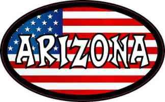 Oval American Flag Arizona Sticker