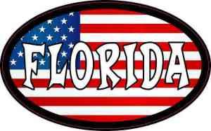 Oval American Flag Florida Sticker