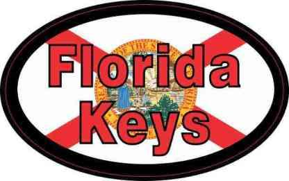 Flag Oval Florida Keys Sticker