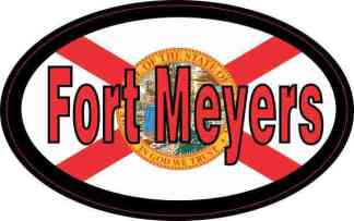 Flag Oval Fort Meyers Sticker