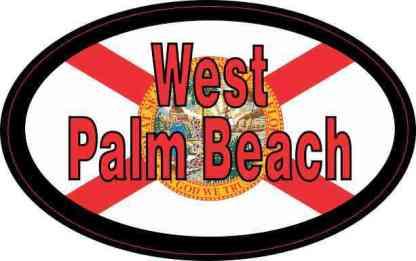 Flag Oval West Palm Beach Sticker
