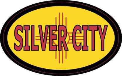 Oval New Mexico Flag Silver City Sticker