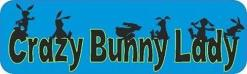 Blue Crazy Bunny Lady Bumper Sticker