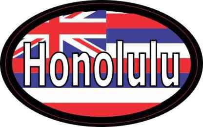 Oval Hawaii Flag Honolulu Sticker