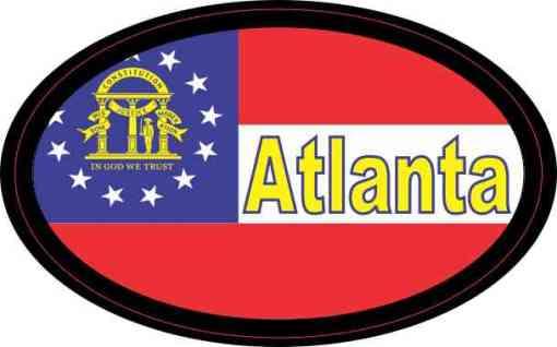Oval Georgia Flag Atlanta Sticker