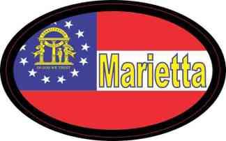 Oval Georgia Flag Marietta Sticker