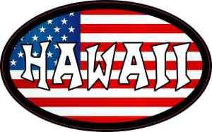 Oval American Flag Hawaii Sticker