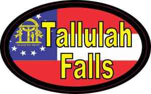 Oval Georgia Flag Tallulah Falls Sticker