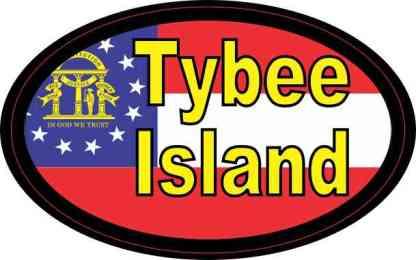 Oval Georgia Flag Tybee Island Sticker