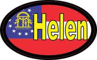 Oval Georgia Flag Helen Sticker