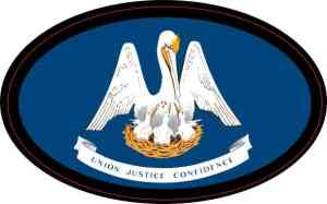 Oval Louisiana Flag Sticker