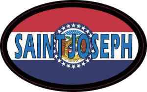 Oval Missouri Flag Saint Joseph Sticker