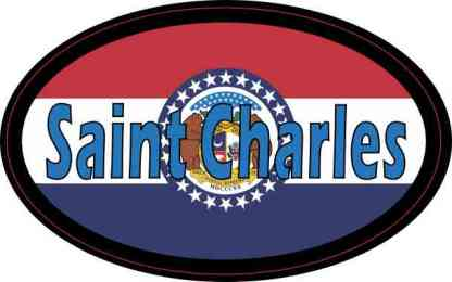 Oval Missouri Flag Saint Charles Sticker