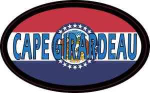 Oval Missouri Flag Cape Girardeau Sticker
