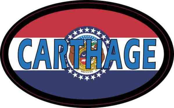 Oval Missouri Flag Carthage Sticker