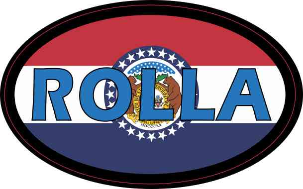 Oval Missouri Flag Rolla Sticker