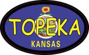 Oval Kansas Flag Topeka Sticker