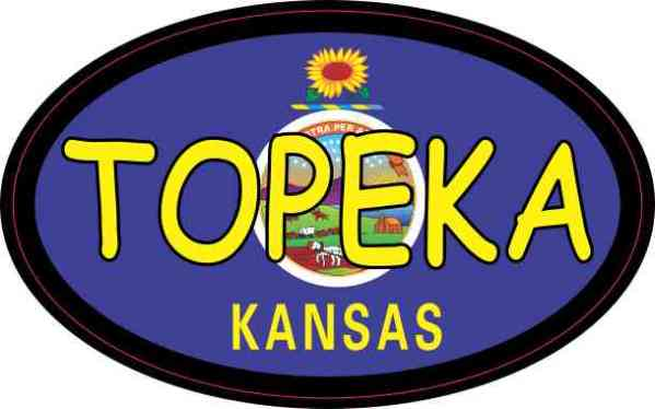 Oval Kansas Flag Topeka Sticker