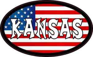 Oval American Flag Kansas Sticker