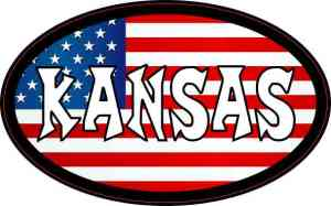 Oval American Flag Kansas Sticker