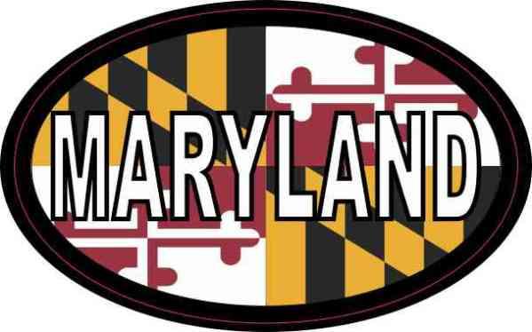 Flag Oval Maryland Sticker