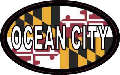 Oval Maryland Flag Ocean City Sticker