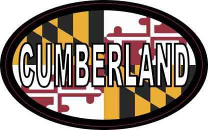 Oval Maryland Flag Cumberland Sticker