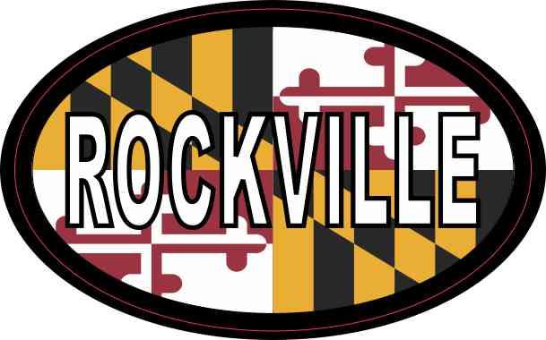 Oval Maryland Flag Rockville Sticker