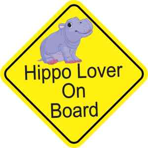 Hippo Lover On Board Magnet