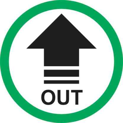 Green Circle Out Arrow Sticker