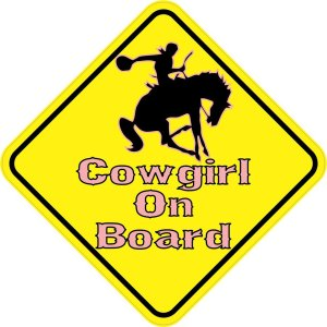 Pink Cowgirl On Board Magnet