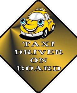 Taxi Driver On Board Sticker