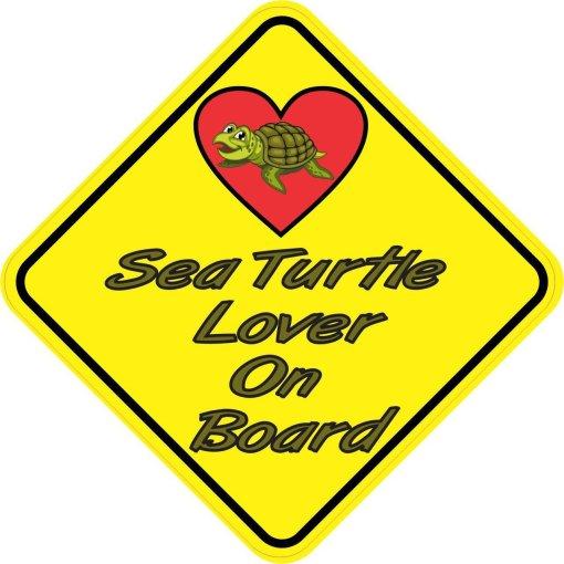 Sea Turtle Lover On Board Sticker
