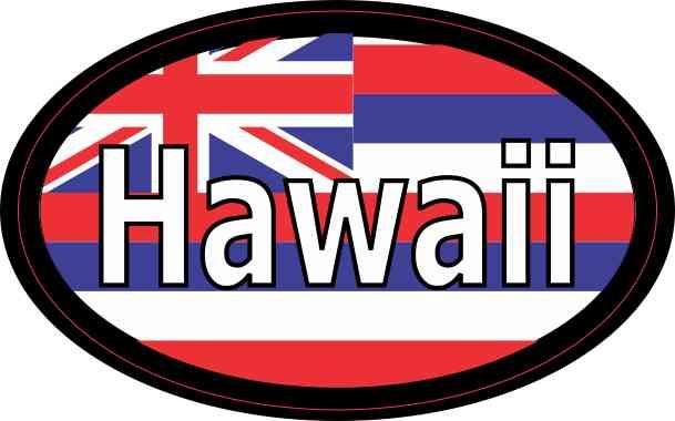 Flag Oval Hawaii Sticker