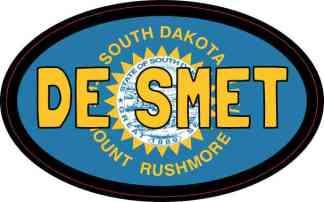 Oval South Dakota Flag De Smet Sticker