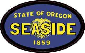 Oval Oregon Flag Seaside Sticker