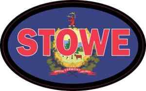 Oval Vermont Flag Stowe Sticker