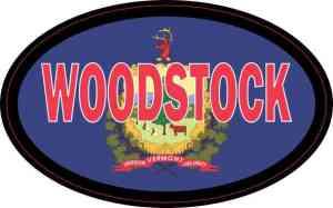 Oval Vermont Flag Woodstock Sticker