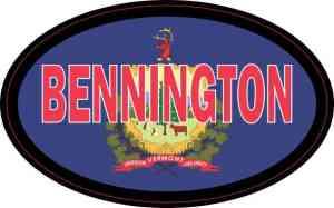 Oval Vermont Flag Bennington Sticker