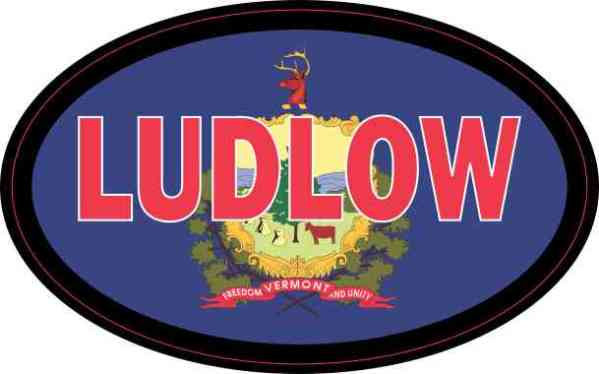 Oval Vermont Flag Ludlow Sticker