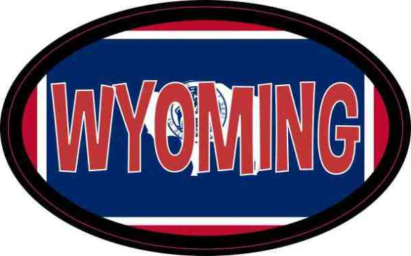 Flag Oval Wyoming Sticker