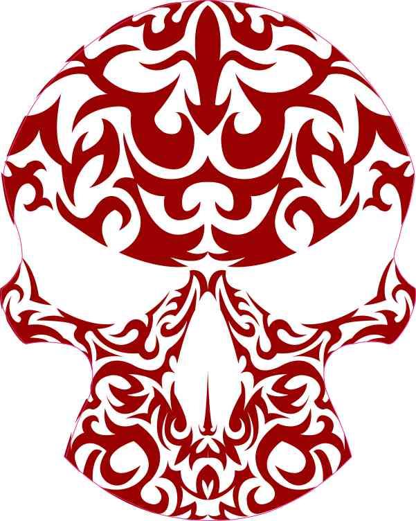 Brick Red Tribal Skull Sticker