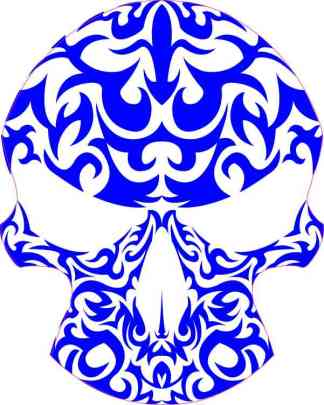 Blue Tribal Skull Sticker