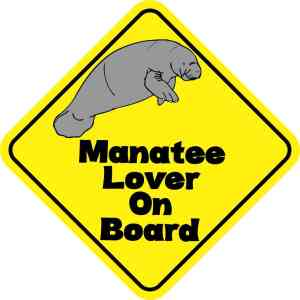 Manatee Lover On Board Sticker
