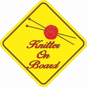 Red Knitter On Board Magnet
