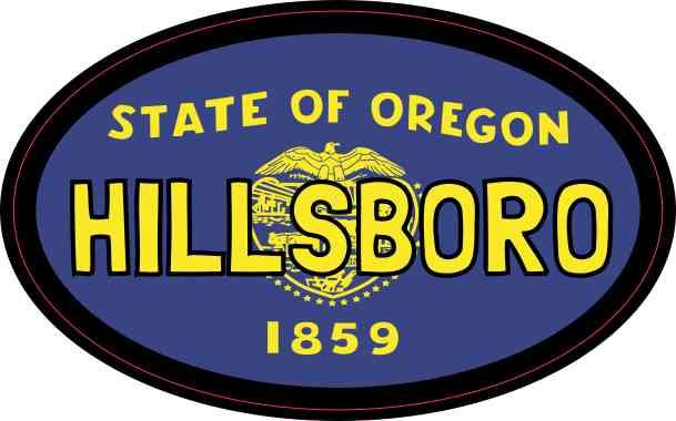 Oval Oregon Flag Hillsboro Sticker
