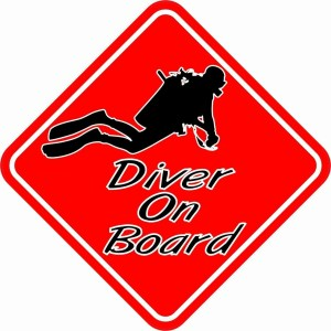 Red Diver On Board Sticker