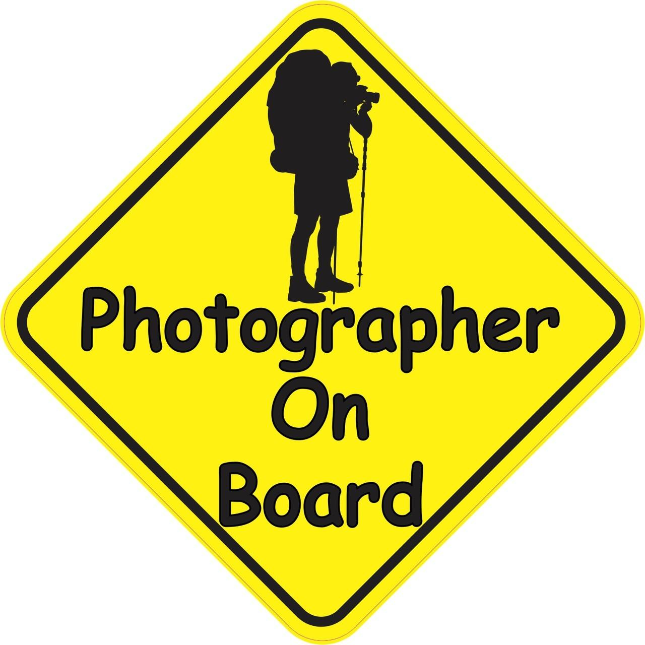 5in x 5in Photographer On Board Sticker | StickerTalk®