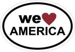 Oval We Love America Sticker
